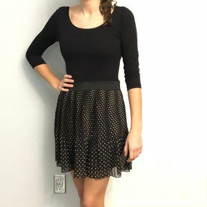 Black Dress with Pleated Polka Dot Skirt